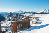 Above View Of Avoriaz Town In Alps, France