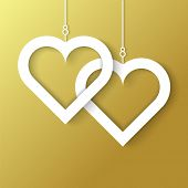 Two Hearts applique on gold background