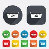 Wash icon. Machine washable at 40 degrees symbol