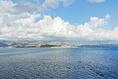foto of messina  - view of Calabria Italy coastline from Strait of Messina in summer day - JPG