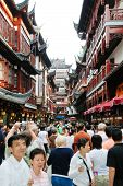 Many Tourist On Street In Shandhai Old City, China