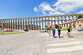 View Of Ancient Roman Aqueduct Of Segovia