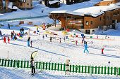 Ski Children Zone In Avoriaz Town In Alps, France