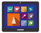 Set of assorted flat baby icons on a digital tablet