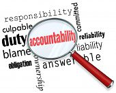 Accountability word under a magnifying glass looking for someone to take responsibility, credit or b