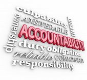 Accountability 3d word background with terms such as answerable, ownership, commitment, duty, obliga