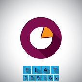 Flat Design Icon Of Pie Chart Or Graph - Vector Graphic