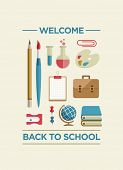 Vector Flat Poster with Education and School Supplies Icon Set.