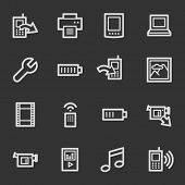 Mobile content web icons, grey set