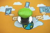 Digitally generated green push button against cloud computing doodle