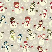 Seamless Pattern With Christmas Snowmans