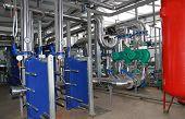 stock photo of boiler  - Interior of independent modern gas boiler - JPG