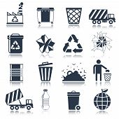 stock photo of garbage bin  - Garbage rubbish green cleaning hygienic symbols website black icons set isolated vector illustration - JPG