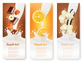 picture of vanilla  - Set of banners with hazelnuts - JPG