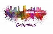 Columbus Skyline In Watercolor