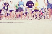 stock photo of competing  - Marathon runners at the starting line  - JPG