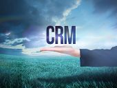 Businesswomans hand presenting the word crm against blue sky over green field