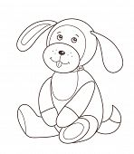 Cute plush toy puppy (vector illustration)