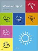 Set of weather report icons. Editable vector illustration.