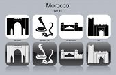 Landmarks of Morocco. Set of monochrome icons. Editable vector illustration.