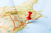 stock photo of larnaca  - Close up of Larnaca Cyprus map with red pin  - JPG