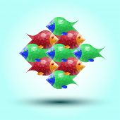 color abstract fish from triangles