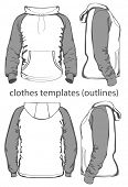 Men's hooded sweatshirt with pocket (back, front and side views). Raglan sleeve. Outlines. Vector illustration.