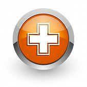 pharmacy orange glossy web icon