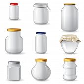 Empty glass jar icons over white background