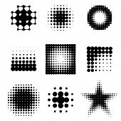 abstract  halftone design elements over white background