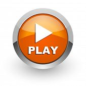 play orange glossy web icon