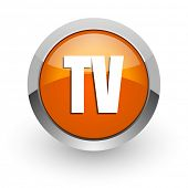 tv orange glossy web icon