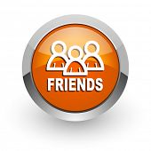 friends orange glossy web icon