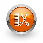 barber orange glossy web icon