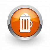 beer orange glossy web icon