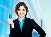 Charming Business Lady Holding Credit Card