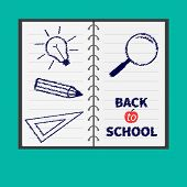 Notebook Spiral  Blank Lined Paper. Magnifer, Pencil, Light Bulb, Ruller. Flat Design. Back To Schoo