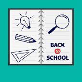 Notebook Spiral  Blank Lined Paper. Magnifer, Pencil, Light Bulb, Ruller. Flat Design. Back To Schoo