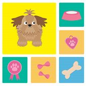 Dog Shih Tzu And Dog Stuff Bow Bone Food Medal Award. Square Icon Set.