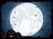 stock photo of jack-o-lantern  - Halloween night background with Moon spiders and Jack O - JPG