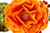 Orange Rose Flower Image Made From Wool