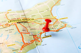 image of larnaca  - Close up of Larnaca Cyprus map with red pin  - JPG