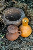 Rustic Gourd With Handmade Pot