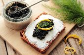 Sandwich witch cream cheese and caviar