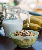 Organic Muesli Represents Granola Healthy And Wholemeal