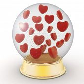 Snow globe with red hearts on white background