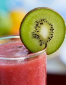 Strawberry Smoothie Indicates Kiwi Fruit And Drink