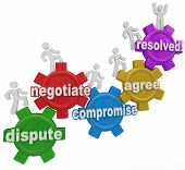 stock photo of negotiating  - Compromise reached by people marching up gears to resolve differences in discussion - JPG