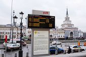 Moscow, Russia, December, 18, 2014: Timetable train at Komsomolskaya square