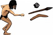 foto of tarzan  - A hairy caveman throws a weapon - JPG